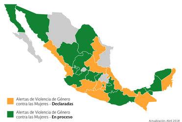Mapa histórico con las peticiones de alertas por violencia de género contra las mujeres