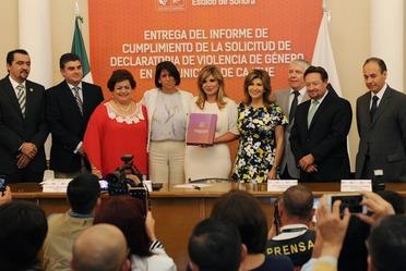 Entrega del Informe de Cumplimiento de la Solicitud de Declaratoria de Violencia de Género en el Municipio de Cajeme, Sonora