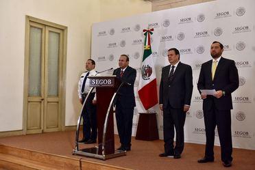 Conferencia de prensa del Secretario de Gobernación, Alfonso Navarrete Prida, con motivo del día mundial contra la Trata de Personas