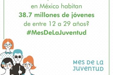 ¿Sabías que actualmente en México habitan 38.7 millones de jóvenes de entre 12 a 29 años? #MesDeLaJuventud