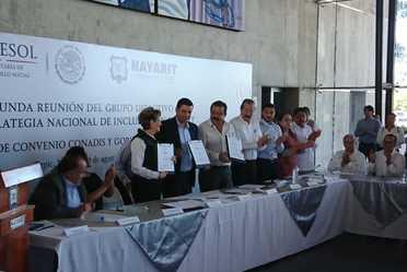 Segunda Reunión del grupo directivo de la Estrategia Nacional de Inclusión en Nayarit, firma de convenio CONADIS y  Gobierno del Estado.