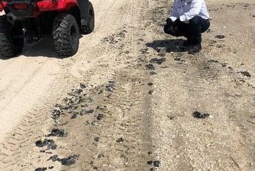 Personal de la ASEA realiza recorrido por playa de Tamaulipas donde se reportó presencia de hidrocarburo.