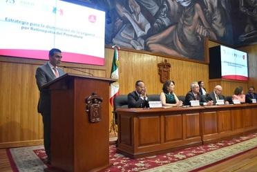 Antonio Chemor Ruiz Comisionado Nacional del Seguro Popular, en el inicio a la Estrategia para la Disminución de la Ceguera por Retinopatía del Prematuro, en Guadalajara, Jalisco.