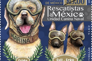 SEMAR y SEPOMEX cancelan estampilla alusiva a los binomios caninos rescatistas