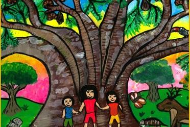 Dibujo del ganadore  estatal en Quintana Roo retrata a tres niños bajo un árbol llamado Pich, con ardilla, armadillo y venado.