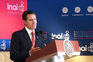 Presidente Enrique Peña Nieto en la inauguración de la Semana Nacional de Transparencia 2018