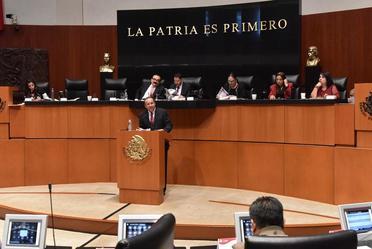 Comparecencia del Secretario de Gobernación, Alfonso Navarrete Prida en  la Cámara de Senadores 6º Informe