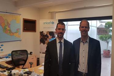 Se llevó a cabo una reunión de trabajo entre el Representante de UNICEF en México, Christian Skoog, y el Director General del Registro Nacional de Población e Identificación Personal (RENAPO), el Mtro. Adrián Escamilla Palafox.