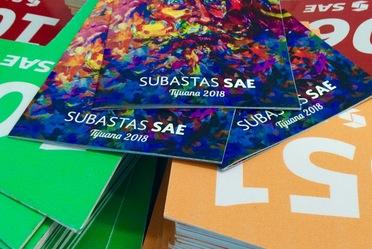 Folletos de la Subasta SAE Tijuana 2018, sobre las paletas de tres colores, antes de iniciar la puja del décimo primer evento de este tipo en el presente año.