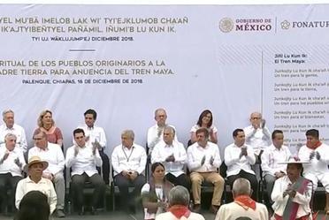 Ritual de los Pueblos Originarios a la Madre Tierra para anuencia del Tren Maya