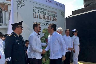 El Titular de la Secretaría de Desarrollo Agrario, Territorial y Urbano (SEDATU), Román Meyer Falcón, durante el evento de la Conmemoración del 104 Aniversario de la Ley Agraria.