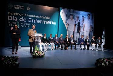 Director general del IMSS, Germán Martínez, da discurso sobre Día de Enfermería.