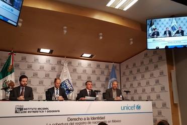Informe: Derecho a la identidad, la cobertura del registro de nacimiento en México UNICEF-INEGI Participa el Director General del RENAPO, Ing. Jorge L. Wheatley quien manifiesta la importancia de la participación del Registro Civil