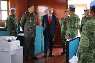 Visita del C. Gral. Srio. Def. Nal y el embajador representante permanente de México ante la O.N.U., al centro de entrenamiento conjunto de operaciones de paz de México.