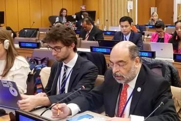 Dr. Carlos Javier Echarri Cánovas en el  52° periodo de sesiones de la Comisión de Población y Desarrollo de Naciones Unidas. Foto vía Misión Permanente de México ante la Organización de las Naciones Unidas