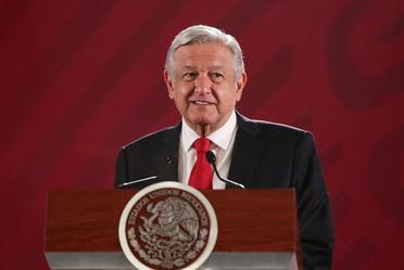 El presidente de México, Andrés Manuel López Obrador, desde Palacio Nacional en la conferencia matutina de hoy.