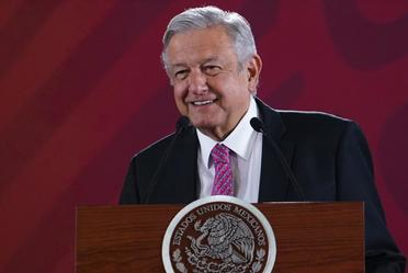 El presidente de México, Andrés Manuel López Obrador, desde Palacio Nacional durante la conferencia matutina de hoy.