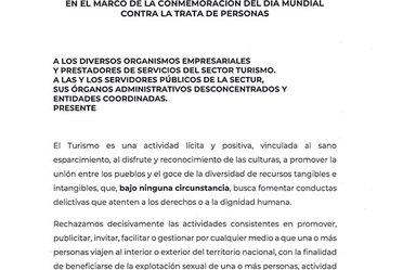 Documento de Pronunciamiento por un Turismo Libre de Explotación Humana - SECTUR.