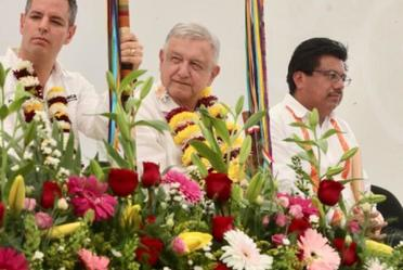 El presidente de México, Andrés Manuel López Obrador, en el Centro Coordinador de Desarrollo Indígena Asunción, desde Nochixtlán, Oaxaca.