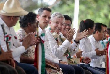 El presidente de México, Andrés Manuel López Obrador, durante el diálogo con los pueblos cuicateco, chinanteco, mixteco, mazateco, ixcateco, náhuatl y afromexicano, desde San Juan Bautista Cuicatlán, Oaxaca.