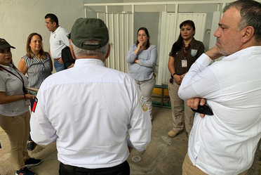 Recorrido del Comisionado del INM a diferentes instalaciones en Tapachula, para supervisar las estancia y atención a personas migrantes