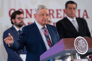 El presidente de México, Andrés Manuel López Obrador, durante la conferencia de prensa de hoy desde Palacio Nacional.