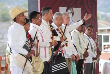 Acciones para el Bienestar de Oaxaca. Inauguración del camino rural San Antonio Sinicahua y diálogo con el pueblo mixteco