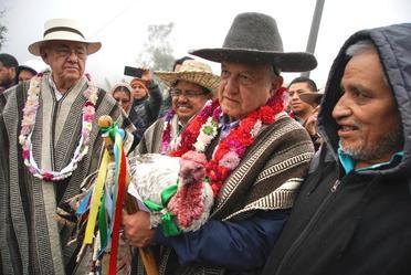 Acciones para el Bienestar de Oaxaca. Inauguración del camino rural Santa María Tepantlali y diálogo con el pueblo mixe