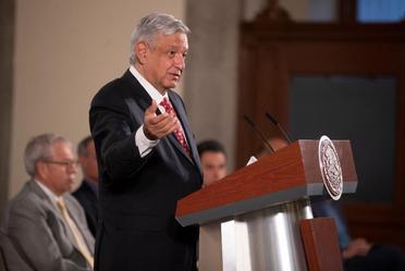 El presidente de México, Andrés Manuel López Obrador, durante la conferencia matutina de hoy desde Palacio Nacional.