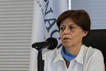 """Fotografía de la Directora General de la Conagua, Blanca Jiménez Cisneros durante la videoconferencia """"El agua y la contingencia sanitaria: seguridad alimentaria, energética e hídrica""""."""