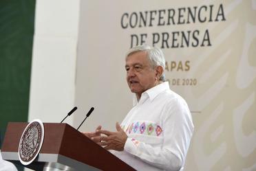 El presidente de México, Andrés Manuel López Obrador, durante la conferencia matutina de hoy desde Palenque, Chiapas.