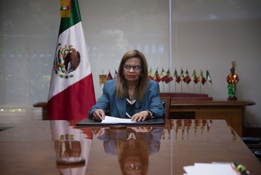 La coordinadora general de Asuntos Internacionales de Agricultura, Lourdes Cruz Trinidad, quien, en representación de Secretario Víctor Villalobos Arámbula, participó en la apertura del Taller (virtual) para la integración de participantes en el Pabellón
