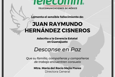Esquela para Juan Raymundo Hernandez Cisneros