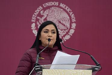 Subsecretaria, Ariadna Montiel durante su presentación en Tlaltenango, Zacatecas.