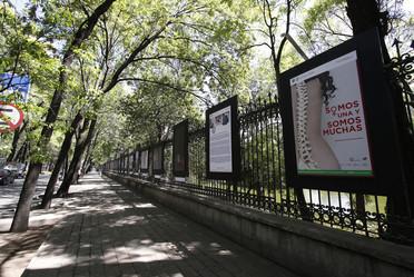 fotografía de exposición en las rejas de Chapultepec