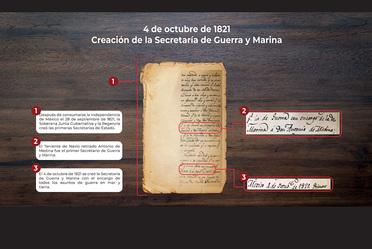 Documento histórico donde se muestra indica la creación de la Secretaría de Guerra y Marina