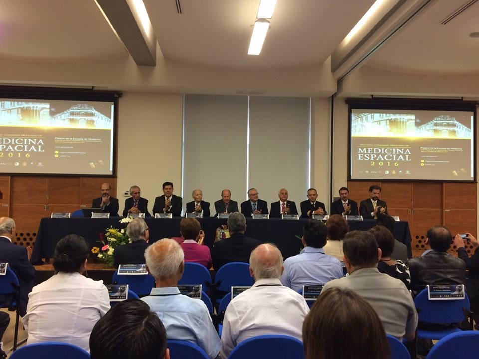 Integrantes del Presidium. Ceremonia de Inauguración #1CMME  http://www.aem.gob.mx/notas/congresoMexicanoMedicinaEspacial.html