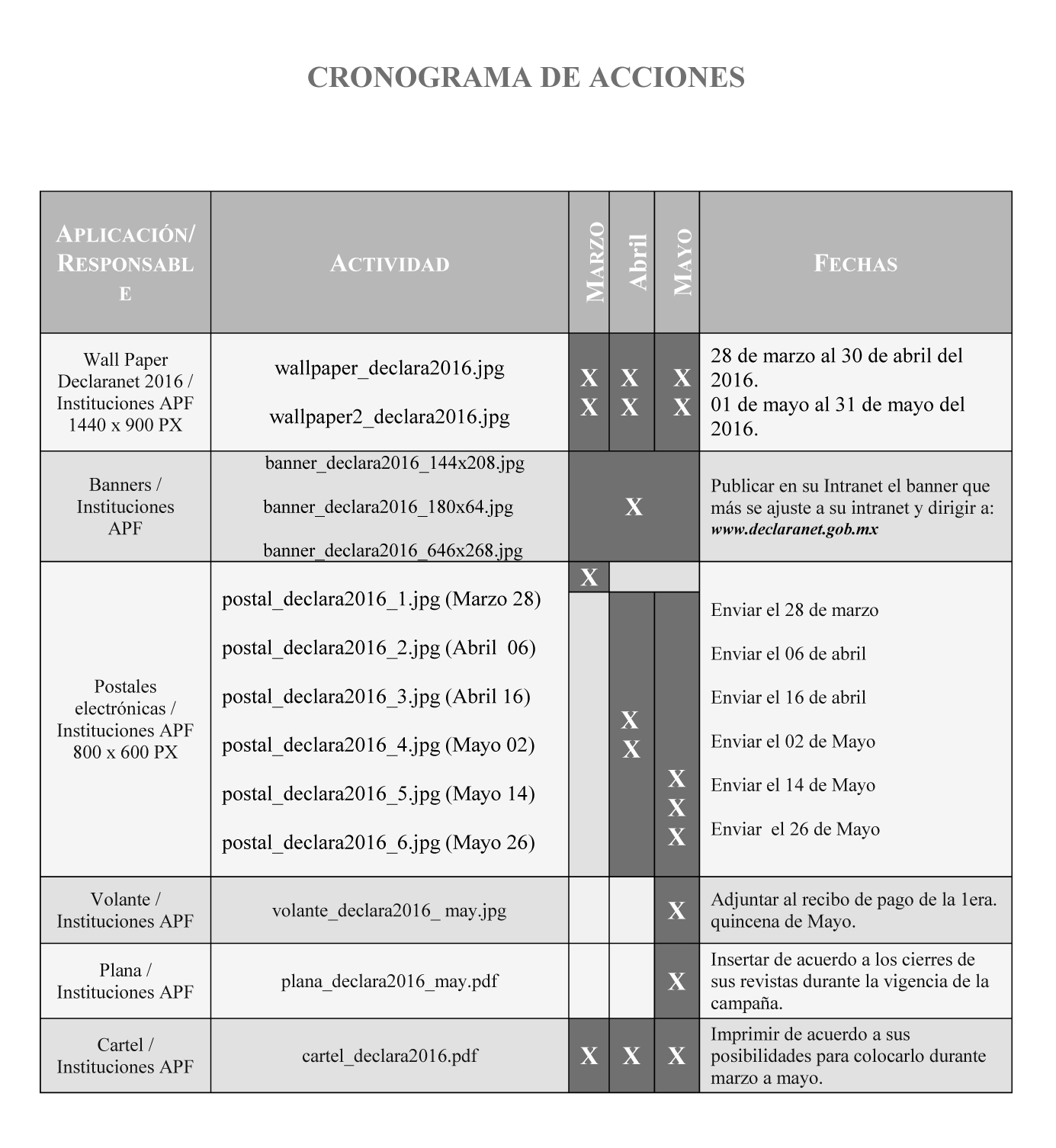 Cronograma Difusi n Declaranet 2016 jpg