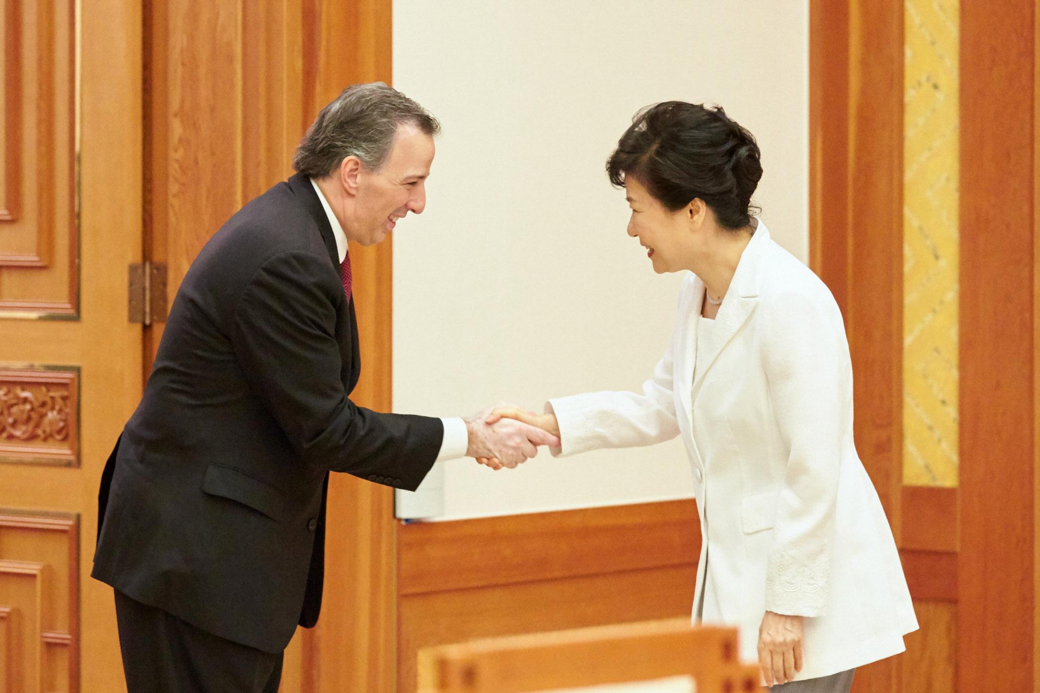 FOTO 1 El canciller Jos  Antonio Meade es recibido por la presidenta de Corea  Park Geun hyejpg