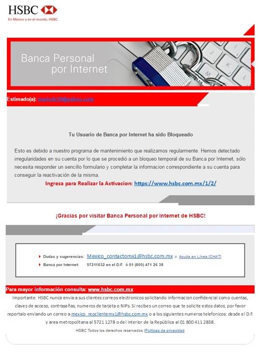 Lanza Condusef Alerta Por Correo Falso De Hsbc Comisión Nacional