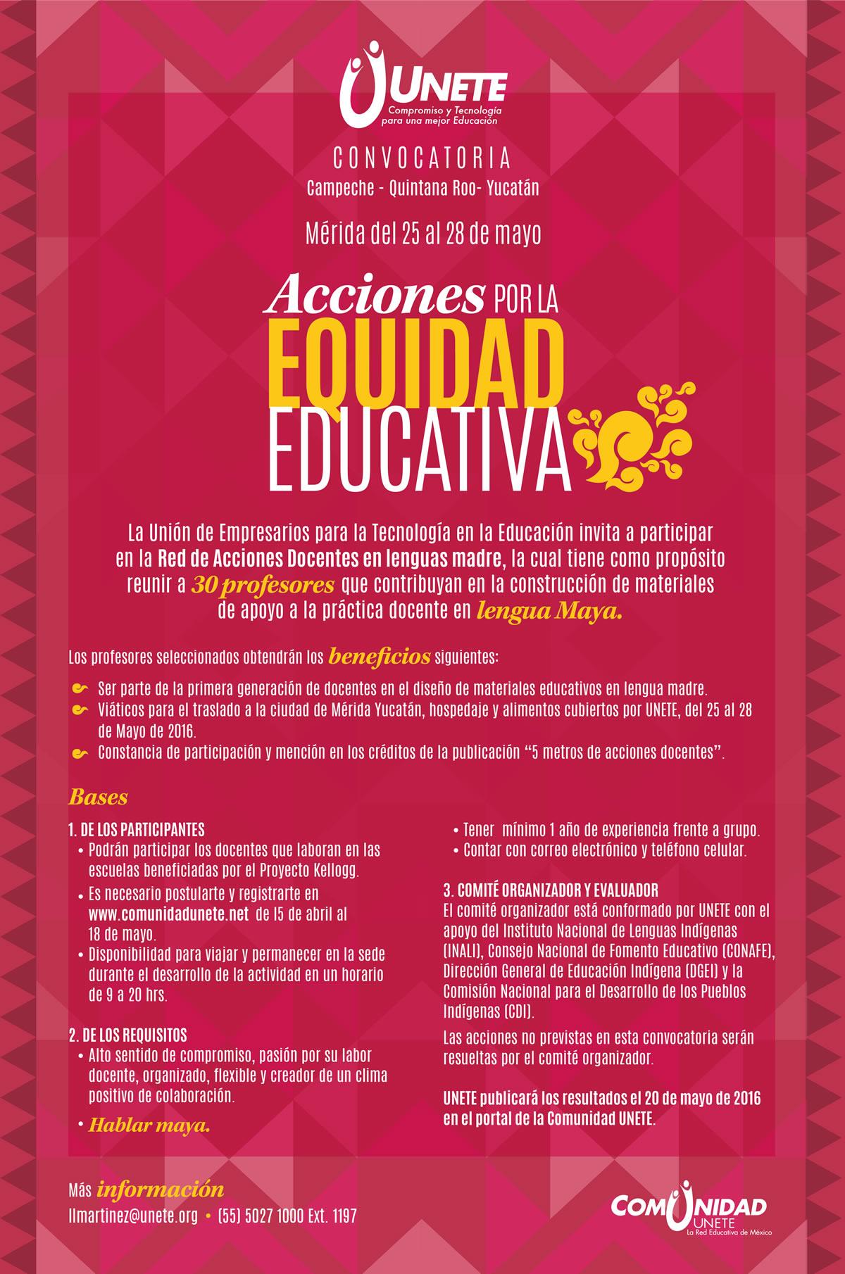 Acciones por la equidad educativa convocatorias Convocatoria para las plazas docentes 2016