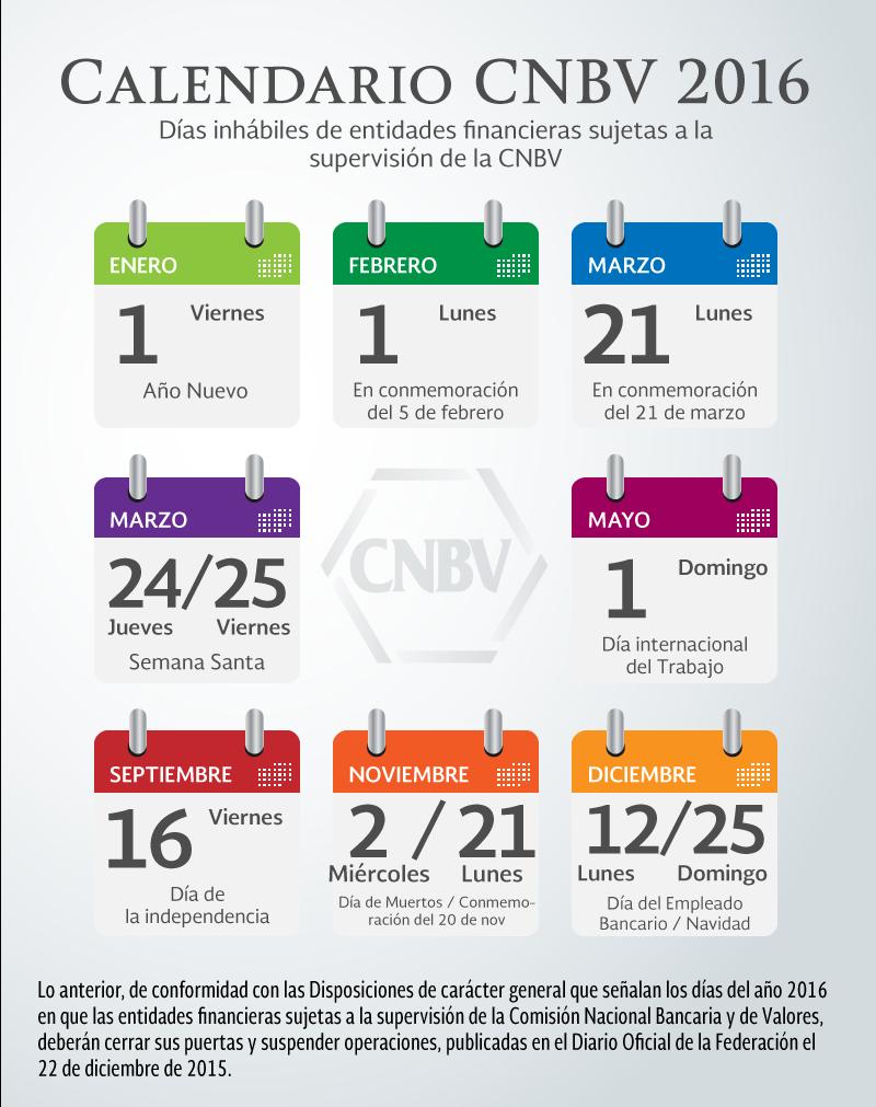 Calendario CNBV 2016 - 2017 | Comisión Nacional Bancaria y de Valores ...