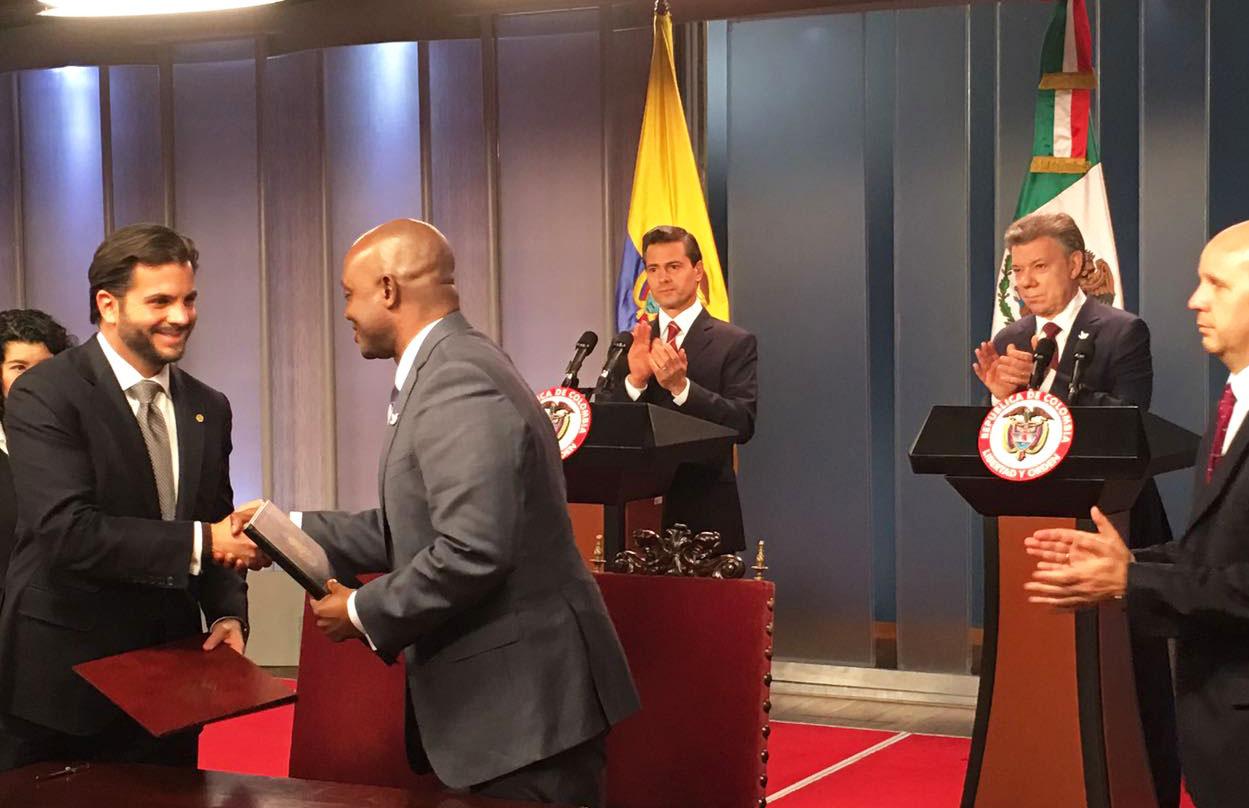 Titulares de la Secretaría de Medio Ambiente y Recursos Naturales de México y del Ministerio de Medio Ambiente y Desarrollo Sostenible de Colombia,  Rafael Pacchiano Alamán y Luis Gilberto Murillo Urrutia.