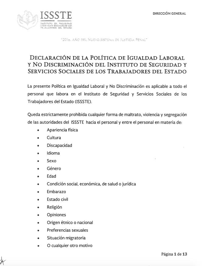 Declaración de la Política de Igualdad Laboral y no Discriminación ...