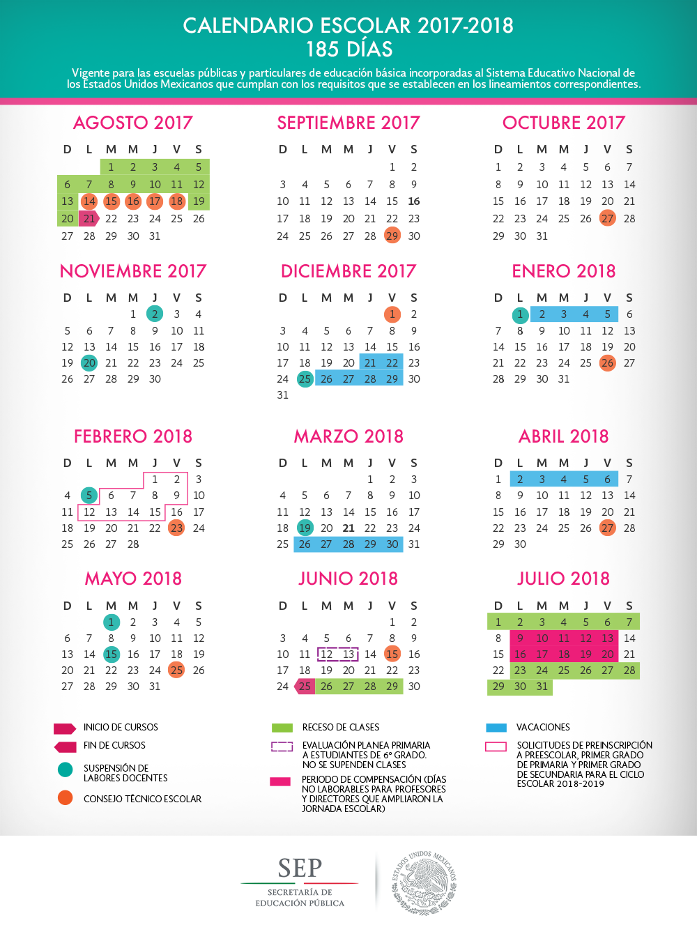 Calendario escolar para el ciclo escolar 2017 2018 for El libro tecnico horario