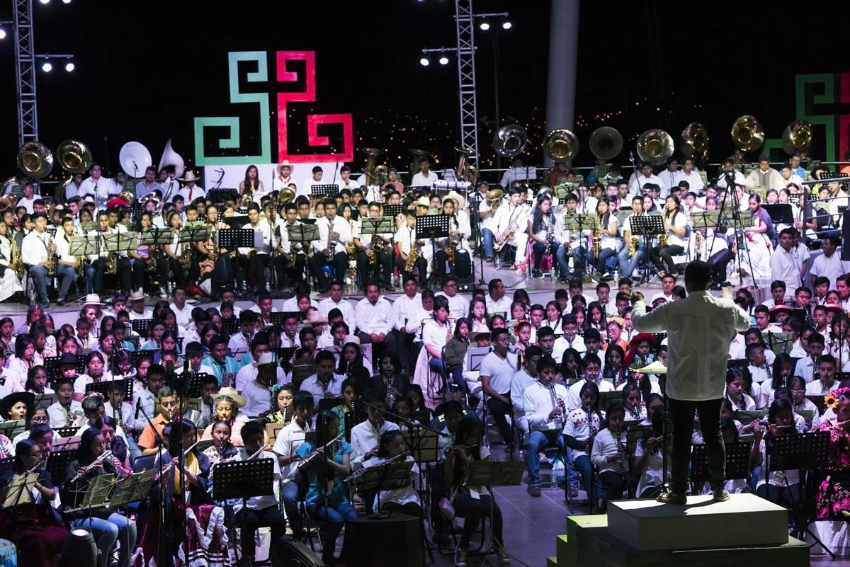 10° Concierto Monumental. Bandas de Viento Infantiles y Juveniles de los Pueblos Indígenas de Oaxaca.
