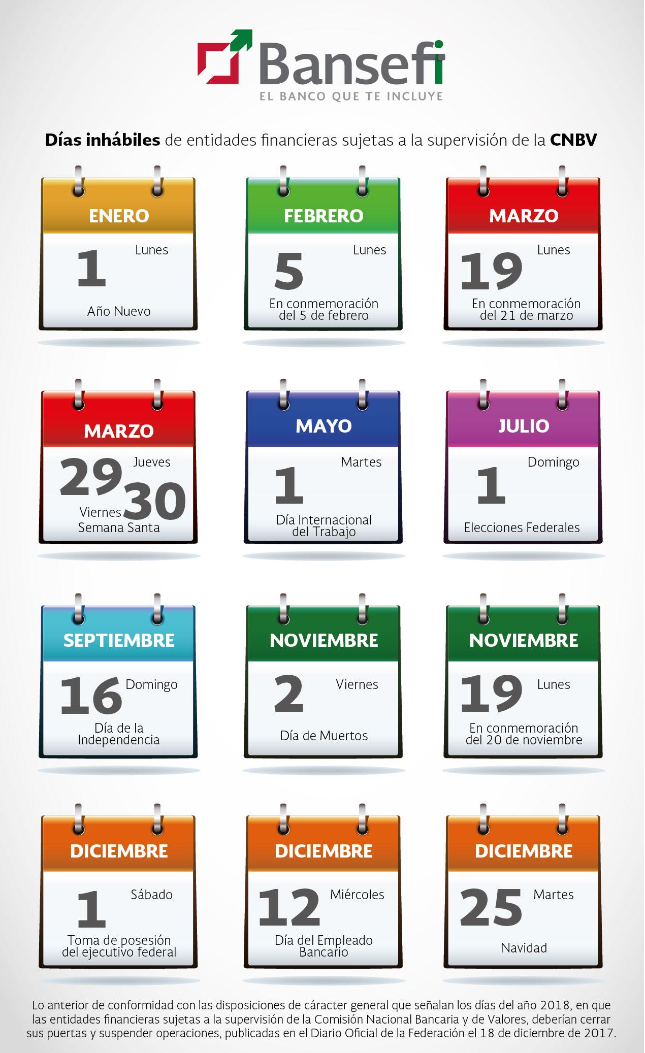 Abre Mi Calendario.Calendario Bansefi 2018 Banco Del Ahorro Nacional Y