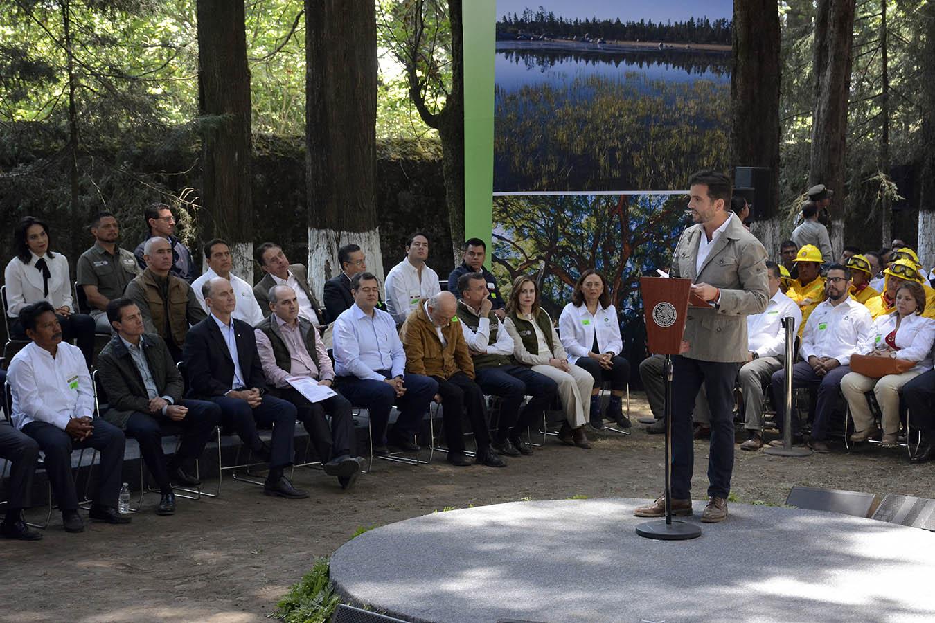 . El Secretario de Medio Ambiente y Recursos Naturales (Semarnat), Rafael Pacchiano Alamán, informó que en conservación y cuidado de los bosques se redujo la pérdida forestal en comparación de la administración anterior, de 150 mil hectáreas a poco más de 90 mil.
