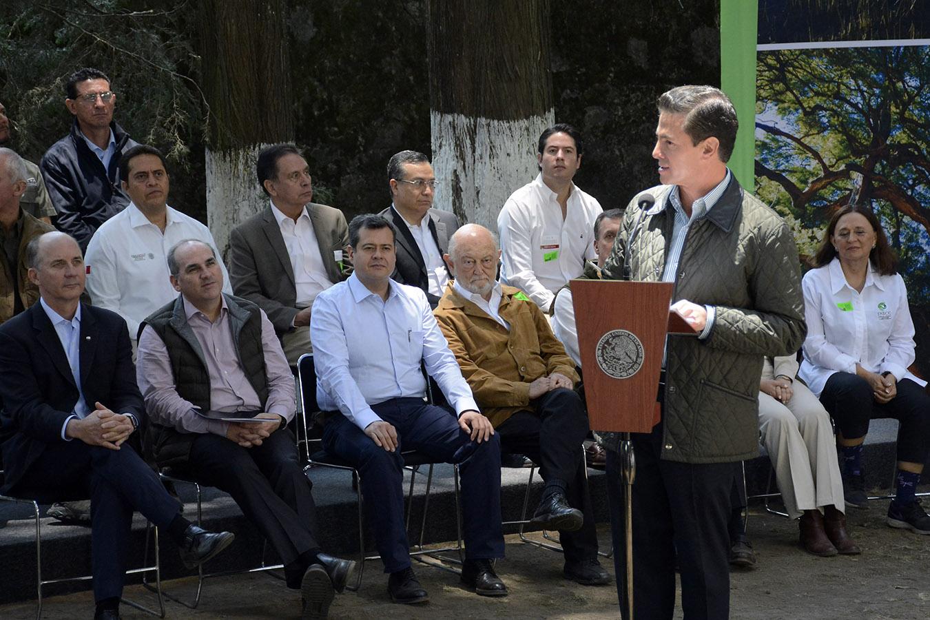 El Presidente de México, Enrique Peña Nieto, destacó que la sinergia en el trabajo de los tres Poderes de la Unión, los tres órdenes de Gobierno, la sociedad civil, la academia y el sector privado ha permitido que el cuidado del medio ambiente sea hoy una política de Estado.