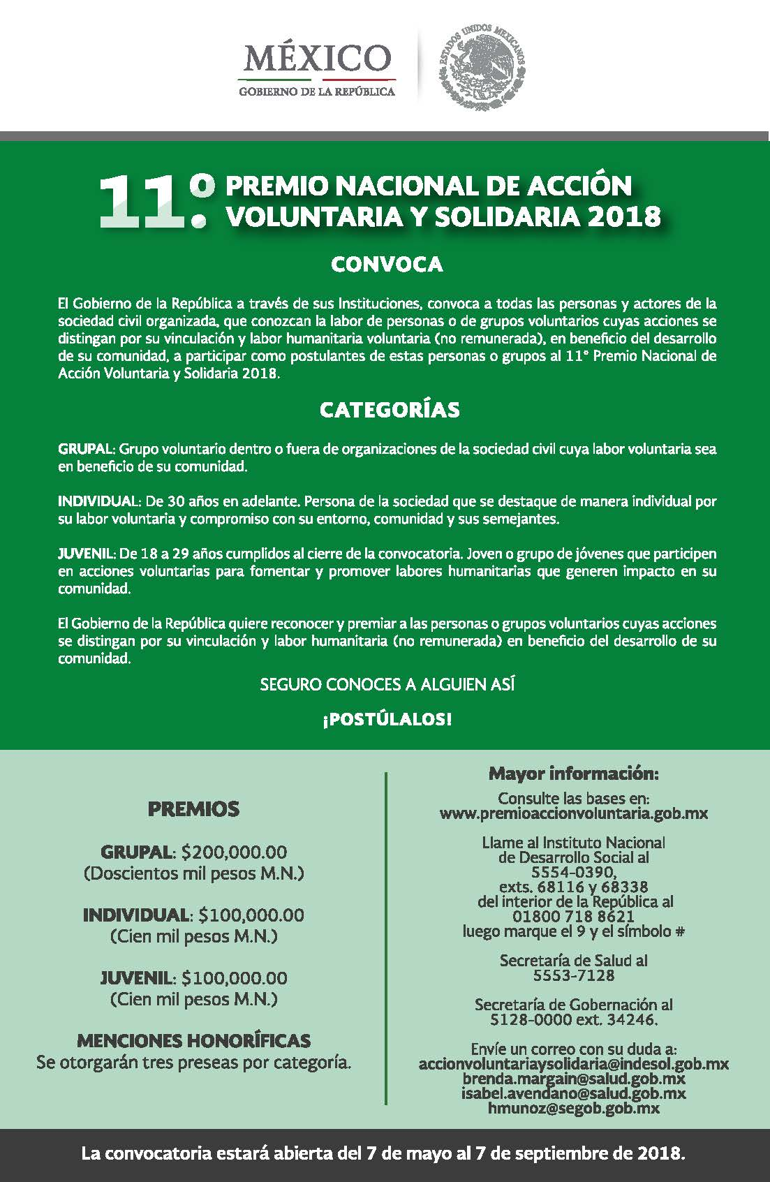 Bases y Requisitos de la Convocatoria al 11° Premio Nacional de Acción Voluntaria y Solidaria